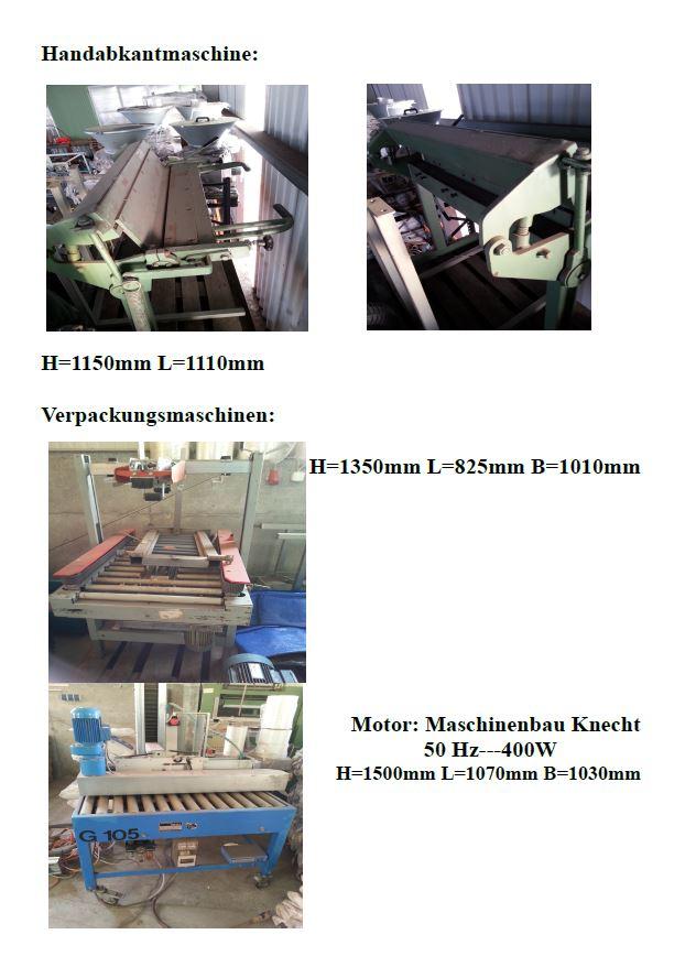 Handabkantmaschine und Verpackungsmaschinen